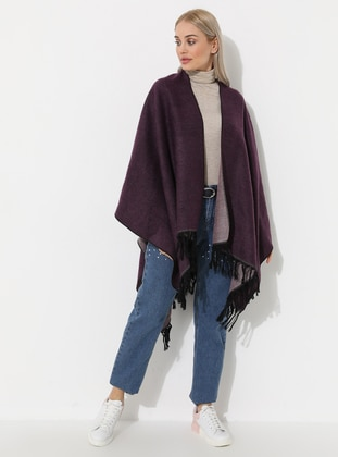 Pink - Purple - Unlined - Wool Blend - Acrylic - Poncho