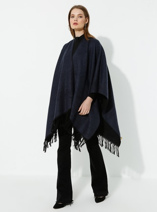 Black - Indigo - Unlined - Wool Blend - Acrylic - Poncho - GINA LOREN
