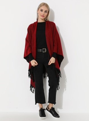 Red - Black - Unlined - Wool Blend - Acrylic - Poncho