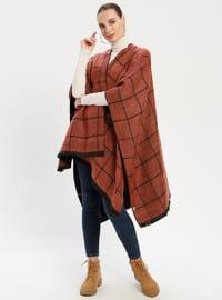 Black - Orange - Stripe - Unlined - Wool Blend - Acrylic - Poncho