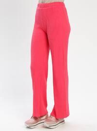 Pink - Fuchsia - Cotton - Pants