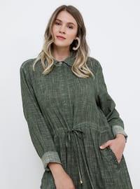 Haki - Astarsız kumaş - Fransız yakalı - Pamuk - Büyük Beden elbise