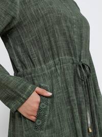 Khaki - Unlined - Point Collar - Cotton - Plus Size Dress