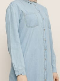 Blue - Point Collar - Cotton - Denim - Tunic