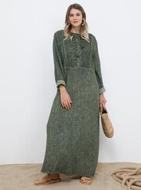 Haki - Astarsız kumaş - Yuvarlak yakalı - Pamuk - Büyük Beden elbise