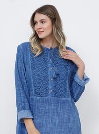 Mavi - İndigo - Astarsız kumaş - Yuvarlak yakalı - Pamuk - Büyük Beden elbise