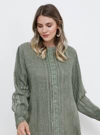 Khaki - Crew neck - Cotton - Plus Size Tunic