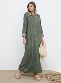 Khaki - Unlined - Cotton - Plus Size Dress