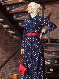 Navy Blue - Polka Dot - Point Collar - Unlined - Viscose - Dress