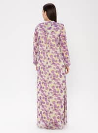 Purple - Multi - Crew neck - Fully Lined - Chiffon - Dress