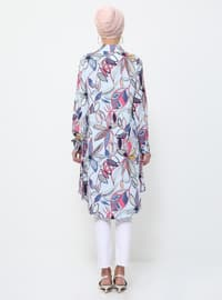 Multi - Floral - Point Collar - Viscose - Tunic