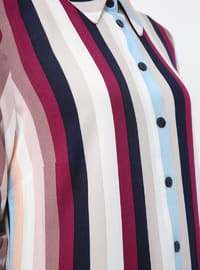 Multi - Stripe - Point Collar - Viscose - Tunic