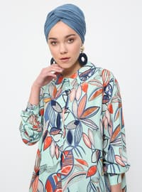 Green - Floral - Point Collar - Viscose - Tunic