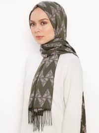 Khaki - Printed - Jacquard - Fringe - Shawl