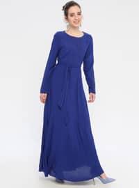 Lacivert - Yuvarlak yakalı - Astarlı kumaş - Elbise