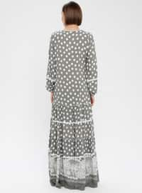 Green - Polka Dot - Crew neck - Fully Lined - Dress