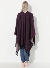 Pink - Purple - Unlined - Wool Blend - Acrylic - Poncho