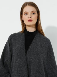 Black - Gray - Unlined - Wool Blend - Acrylic - Poncho