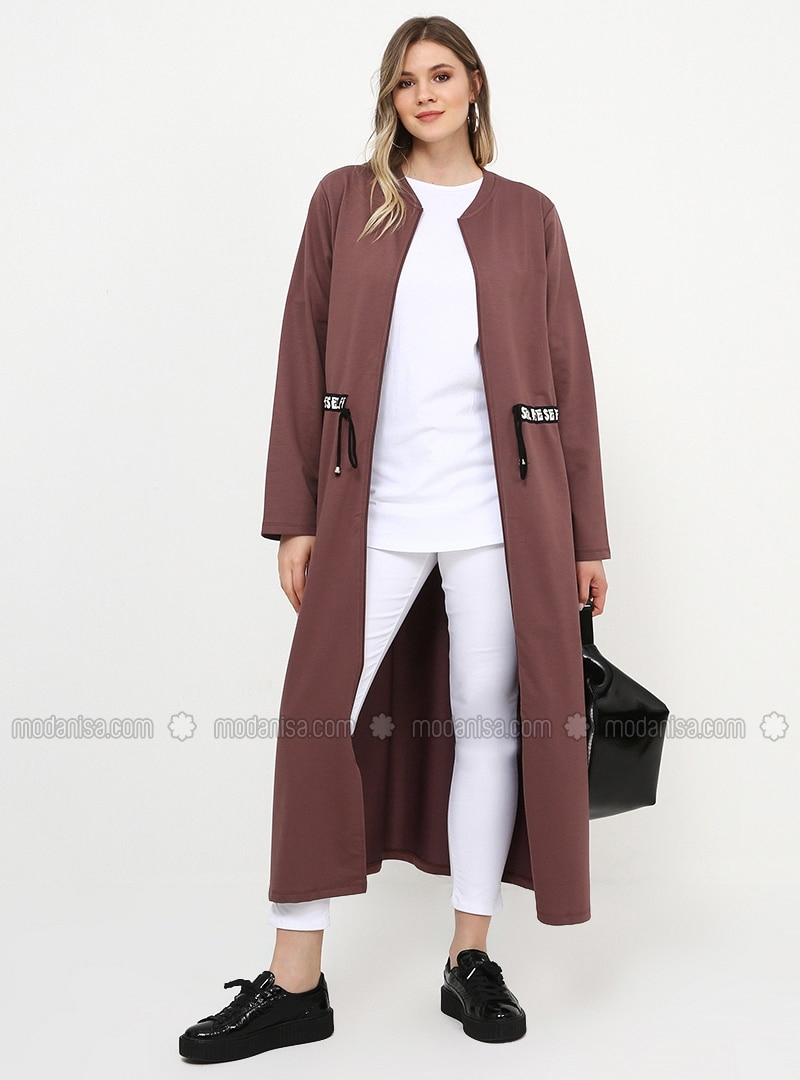 Purple - Dusty Rose - Unlined - Crew neck - Cotton - Plus Size Coat