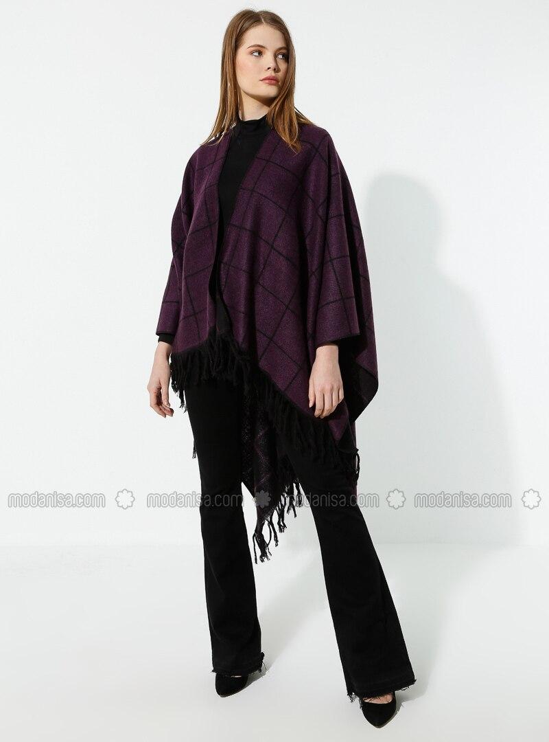 Black - Purple - Stripe - Unlined - Wool Blend - Acrylic - Poncho