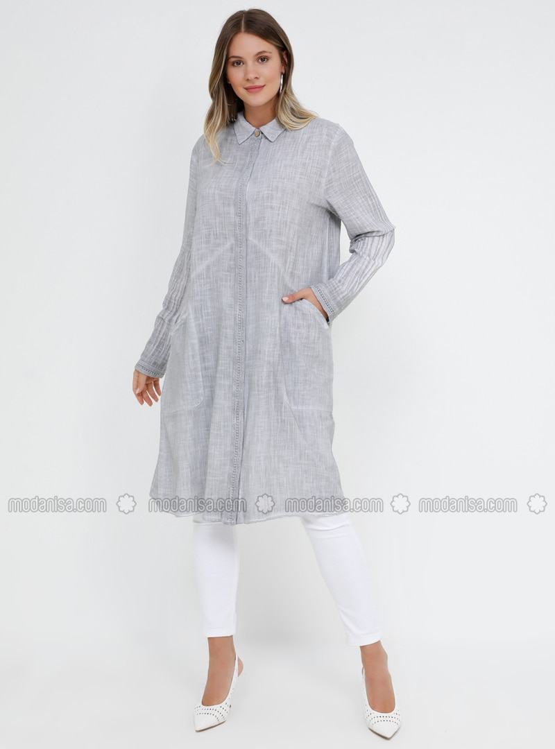 Gray - Point Collar - Cotton - Plus Size Tunic