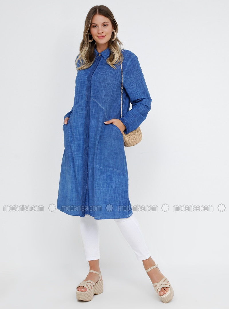 Blue - Navy Blue - Indigo - Point Collar - Cotton - Plus Size Tunic