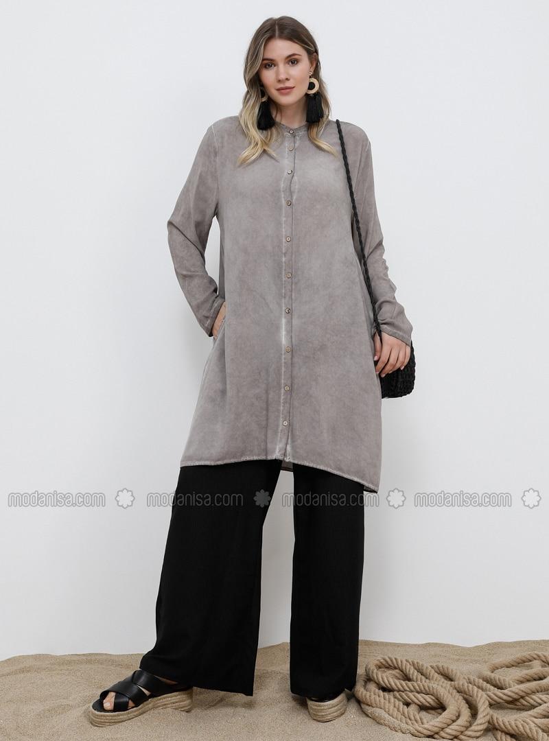 Mink - Button Collar - Viscose - Plus Size Tunic