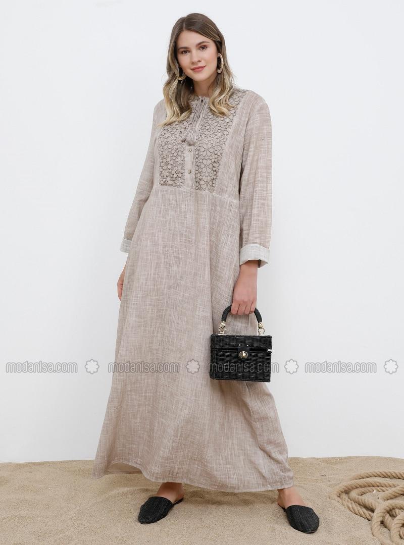 Beige - Unlined - Crew neck - Cotton - Plus Size Dress