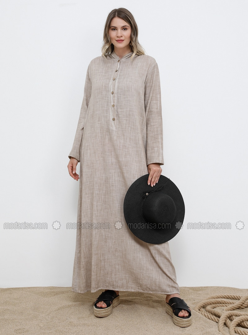 Beige - Unlined - Cotton - Plus Size Dress