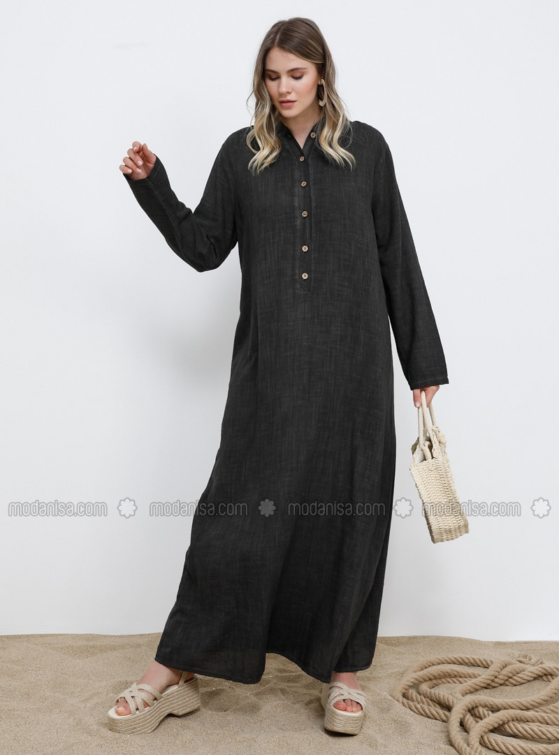 Black - Unlined - Cotton - Plus Size Dress