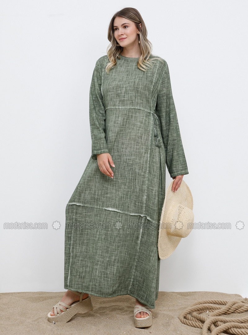 Khaki - Unlined - Crew neck - Cotton - Plus Size Dress