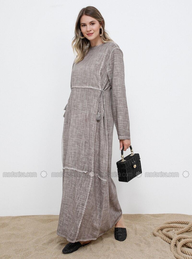 Mink - Unlined - Crew neck - Cotton - Plus Size Dress