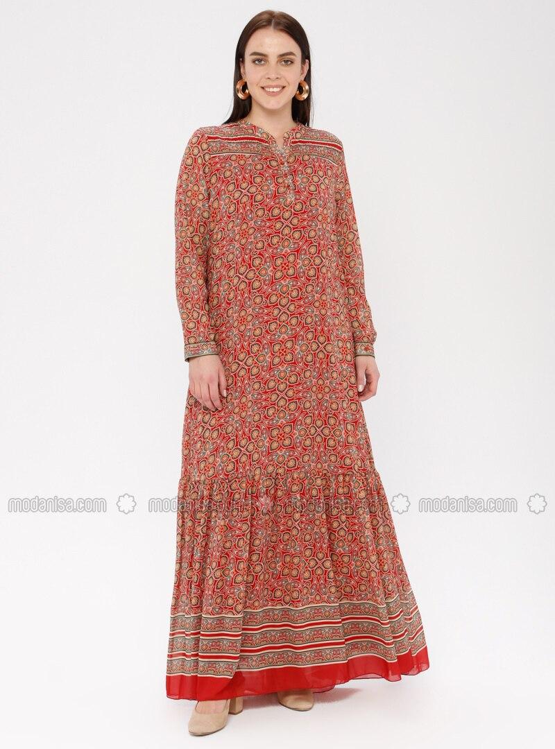 6b724998974b2 Drop Baskılı Etnik Desenli Elbise - Bordo