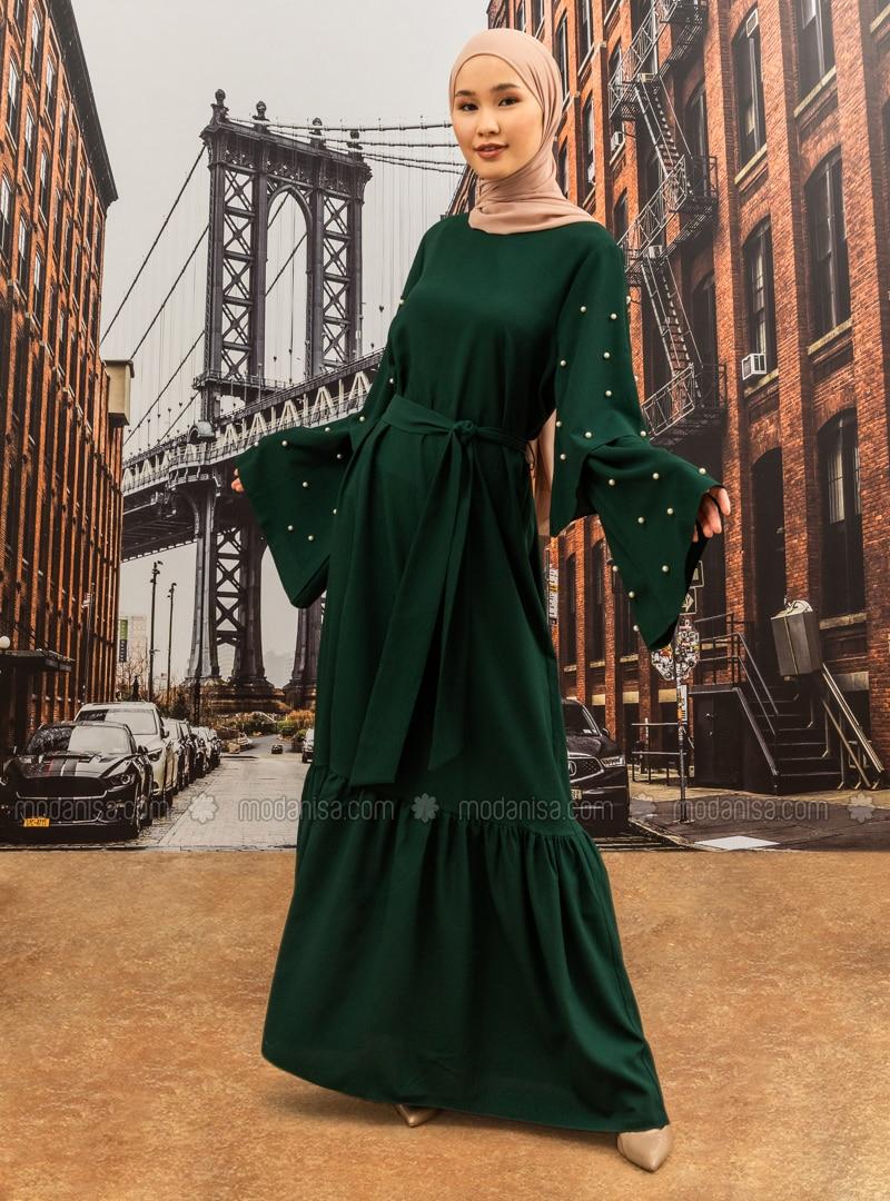 Pearl Flounced Detailed Evening Dress - Emerald Green