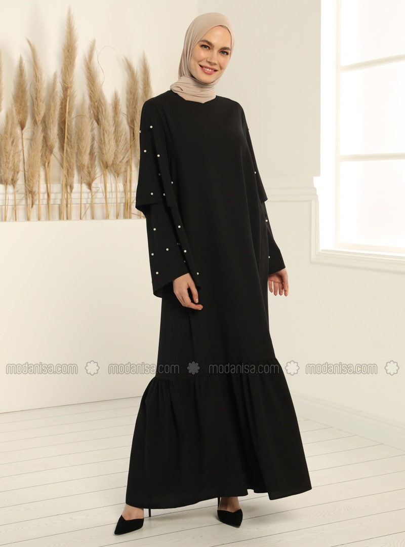 Black - Black - Crew neck - Unlined - Dress