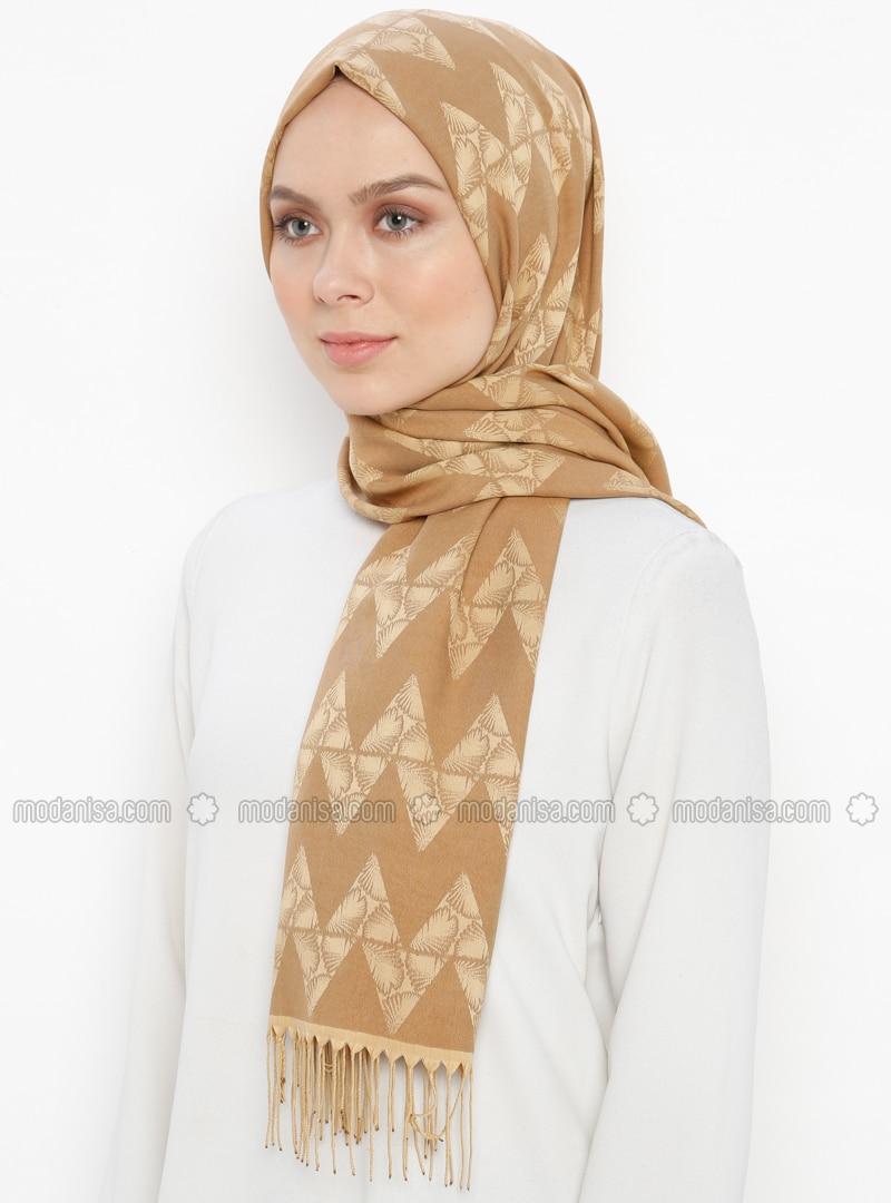 Camel - Printed - Jacquard - Fringe - Shawl