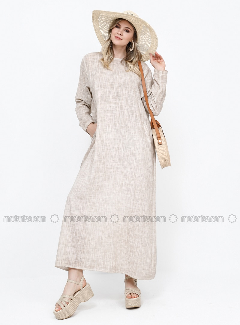 Beige - Unlined - Crew neck - Cotton - Plus Size Dress