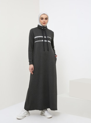 Anthracite - Polo neck - Unlined - Dress