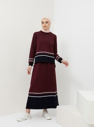 Plum - Stripe - Unlined - Cotton - Suit