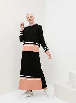 Black - Salmon - Stripe - Unlined - Cotton - Suit