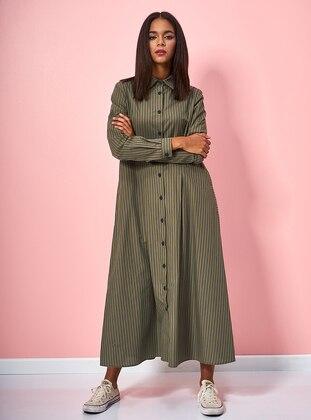 Khaki - Stripe - Button Collar - Unlined - Cotton - Dress