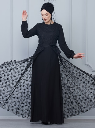 Black - Crew neck - Fully Lined - Muslim Evening Dress