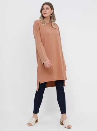 Brown - Camel - Crew neck - Cotton - Plus Size Tunic
