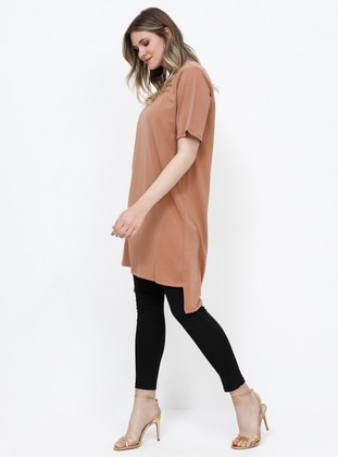Tan - Camel - Crew neck - Cotton - Tunic