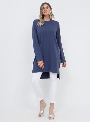 Purple - Crew neck - Cotton - Plus Size Tunic
