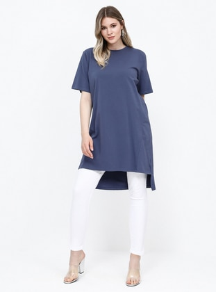 Purple - Crew neck - Cotton - Tunic