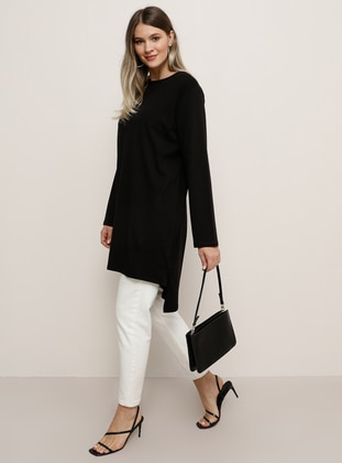 Black - Crew neck - Cotton - Tunic - Alia
