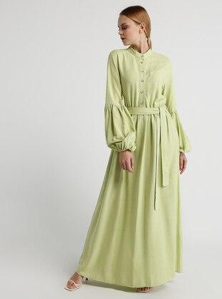 70a41b6caf3eb أخضر - قبة بأزرار - نسيج غير مبطن - قطن - فستان