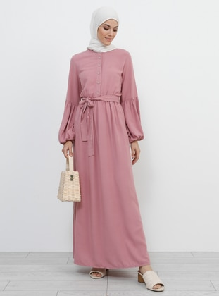 Dusty Rose - Button Collar - Unlined - Cotton - Dress