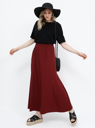 Plum - Unlined - Cotton - Plus Size Skirt